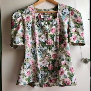 VINTAGE Cream Ivory Pink Floral Button Down Blouse